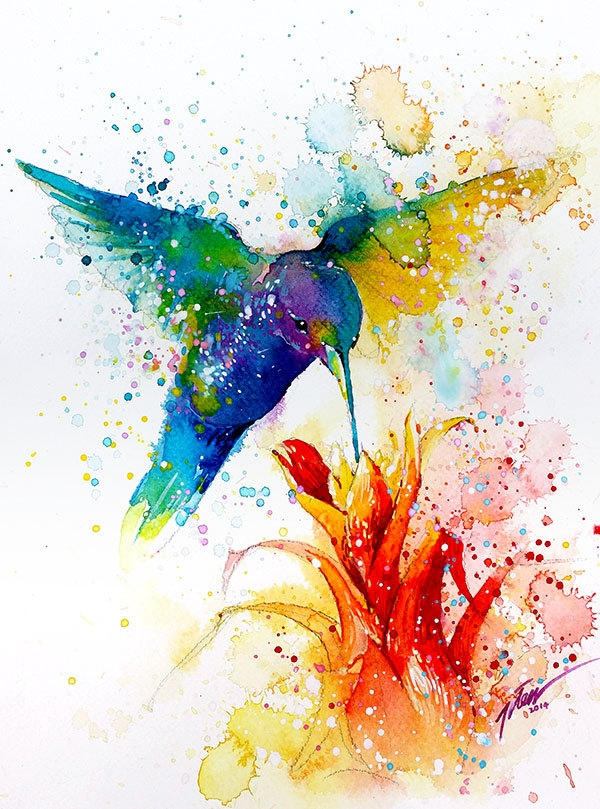 11-Hummingbird-Tilen-Ti-Colorful-Watercolor-Paintings-of-Animals-www-designstack-co