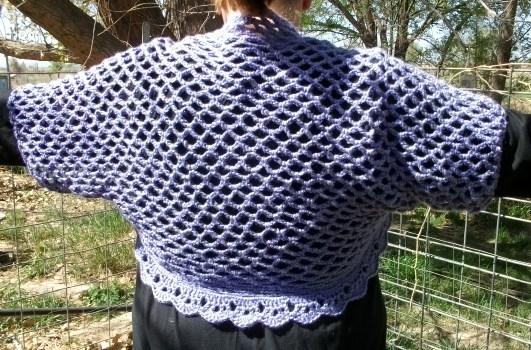 Copper Llama Studio Plus Size Fish Net Crochet Shrug Pattern
