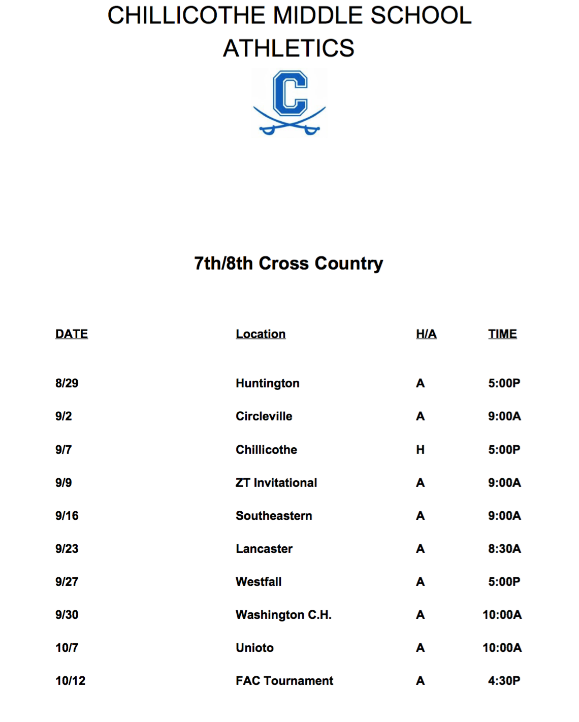 Chillicothe Middle School Sports