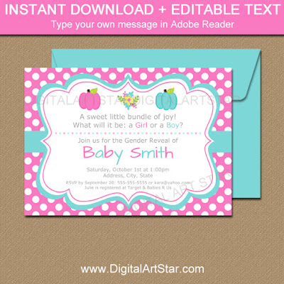 pink and blue pumpkin gender reveal invites with polka dots