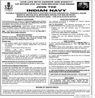 North Eastern States Indian Navy Sailors Jobs Recruitment