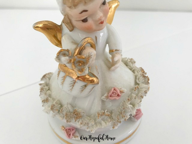 Lefton Going to Market porcelain angel figurine 808B pink flowers gold spaghetti trim flower basket
