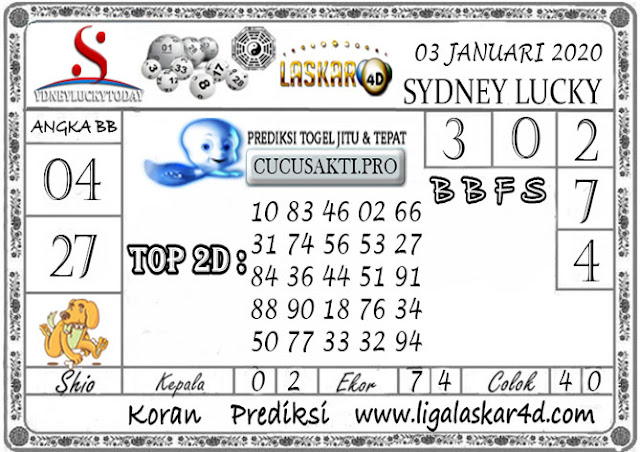 Prediksi Sydney Lucky Today LASKAR4D 03 JANUARI 2020
