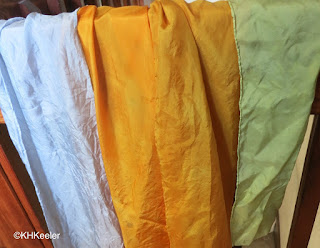 recently-dyed silks