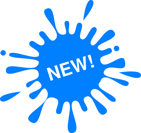 The word New on a blue paint splatter