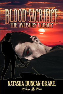 Deep orange red sunset in the background, with a close up of young man hugging his knees and looking at the viewer with red eyes. Over this is the silouette of a woman with a crossbow and a fallen vampire. Over the top are the title Blood Sacrifice: The Avebury Legacy and Natasha Duncan-Drake.