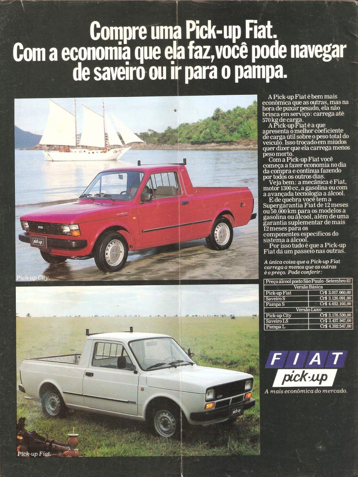 Propaganda de 1984 da Fiat enaltecendo as qualidades da Picape City diante as concorrentes
