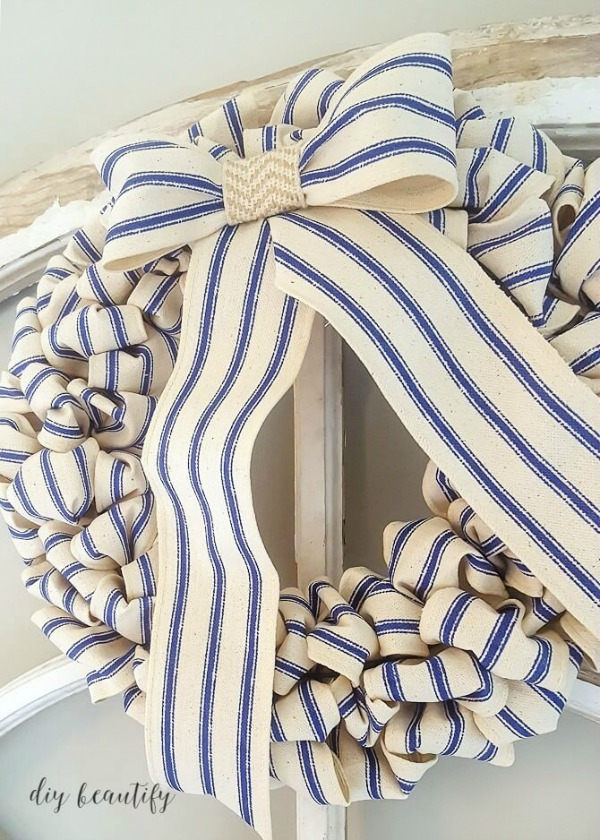 blue ticking stripe farmhouse wreath