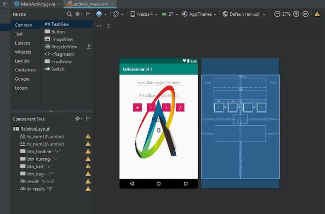 Layout script membuat aplikasi kalkulator di android studio