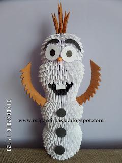 Olaf z Krainy Lodu - origami modułowe, 3d.
