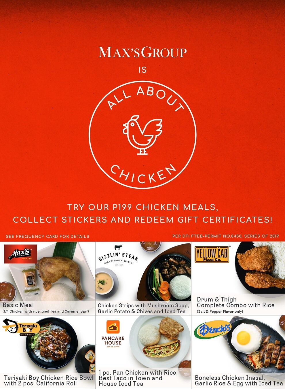 From february 15 to april 15 chicken lovers can order their favorite chicken meals worth php199 each in exchange for stickers for their all about chicken