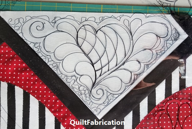 feathers and heart quilting motif