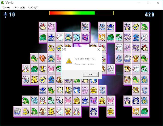 Run-time error 70 permission denied game onet pikachu game Chen Program Study