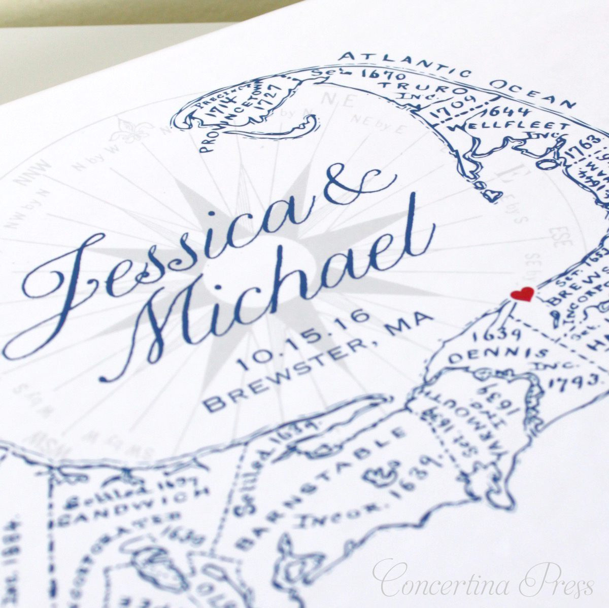 Personalize this Cape Cod Guestbook for your wedding on the Cape - Guest Book made in the USA from Concertina Press