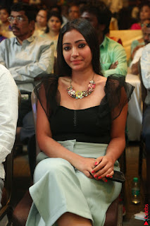 Swetha Basu in a Black Sleeveless Top Long Skirt at Mixture Potlam Movie Audio Launch 063.JPG