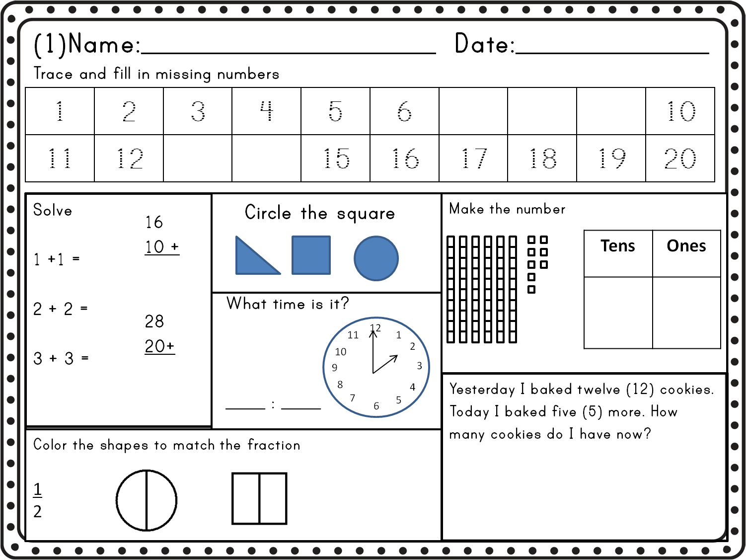 Math Worksheet Grade 2 Common Core