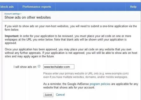 Submitting One time application on new domain to Adsense