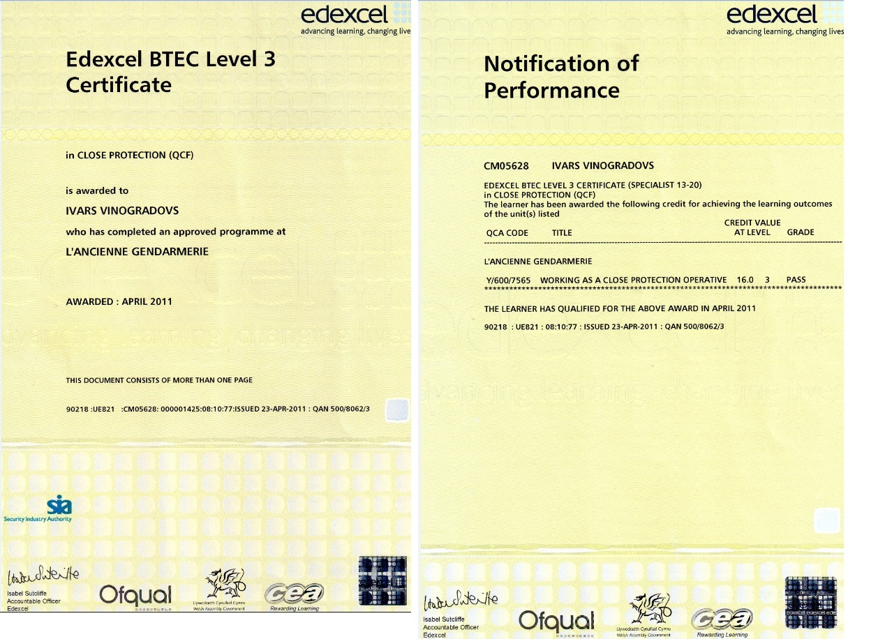 gcse certificate template - your personal bodyguard qualifications