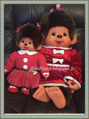 Robe de Noël pour Kiki ou monchhichi, kiki le vrai, costumes, déguisement, noêl, santaclaus