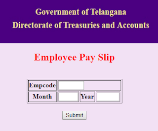 Telangana treasury website main page