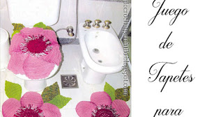 Juego de Tapetes Florales para Toilette / Patrones Crochet