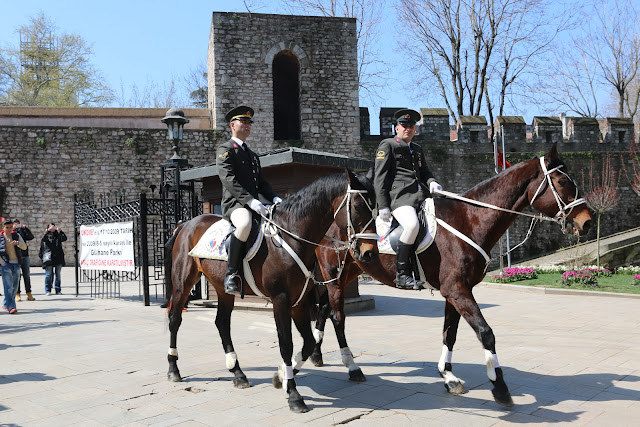 The guards with their horses at Gulhane Park in Istanbul, Turkey