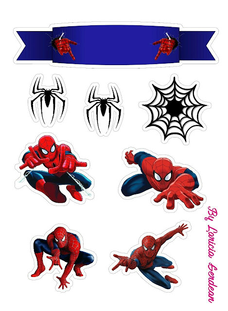 Spiderman with Spiders Free Printable Cake Toppers.