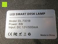 Aufkleber: CRECO 7W LED Tischlampe 5 Helligkeitsstufen 3 Modi dimmbar 270° drehbar Schreibtischlampe Schwarz [Energieklasse A+]