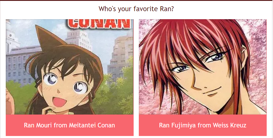 ran mouri, ran fujimiya, weiss kreuz, knight hunters, koyasu takehito, gosho aoyama, meitantei conan, detective conan, anime, manga, favorite character, poll