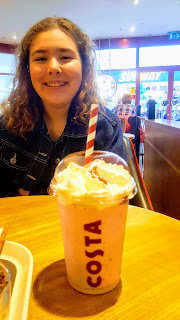Top Ender with her favourite Strawberries and Cream Costa Drink