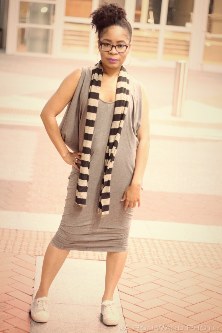 Tobi Grey Midi Cowl Tank Dress