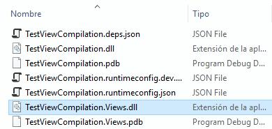 Directorio de salida de compilación, con el ensamblado de las vistas