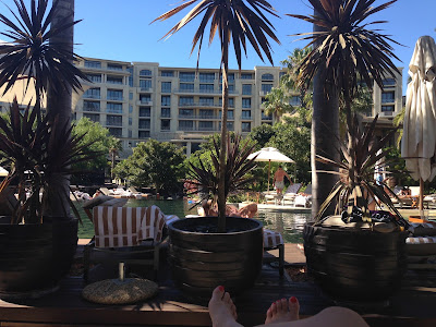 One&Only Cape Town, pool area facing the hotel, palm trees