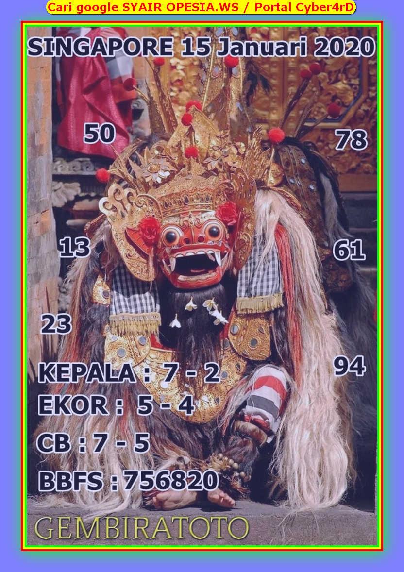 Kode syair Singapore Rabu 15 Januari 2020 139