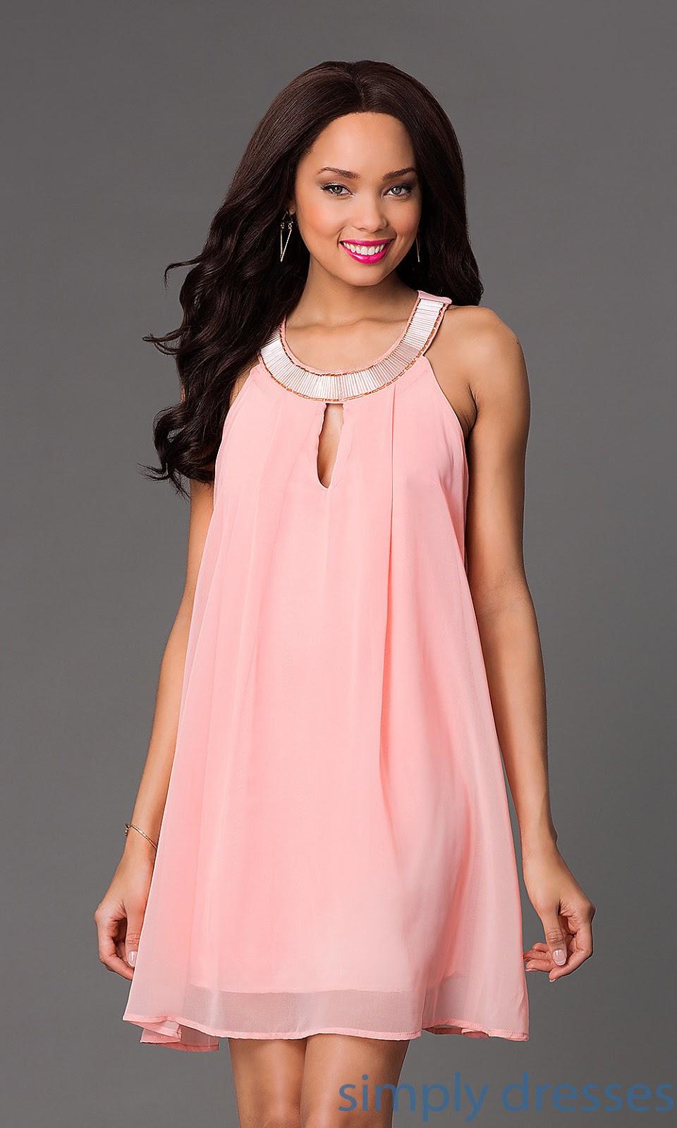 Asombroso Vestido De Cóctel De Color Rosa Claro Imagen - Colección ...
