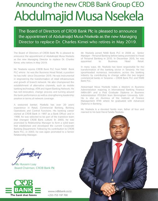 CRDB BANK PLC announcing the new CEO, Mr. Abdulmajid Musa Nsekela
