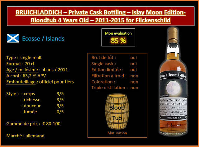 Review #523 : Bruichladdich – Private Cask Bottling – Islay Moon Edition – Blood Tub 4 Years Old 2011-2015 for Flickenschild