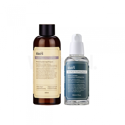 Wishtrend Klairs 2 Step Basic Soothing Set (Supple Preparation Facial Toner + Rich Moist Soothing Serum)