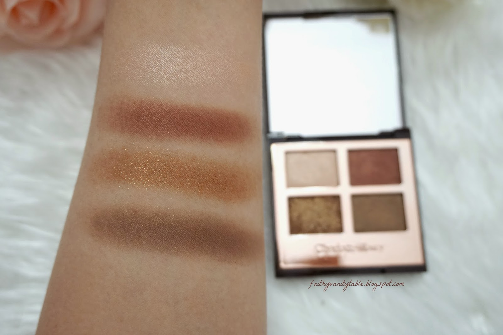 Swatches of Charlotte Tilbury Dolce Vita