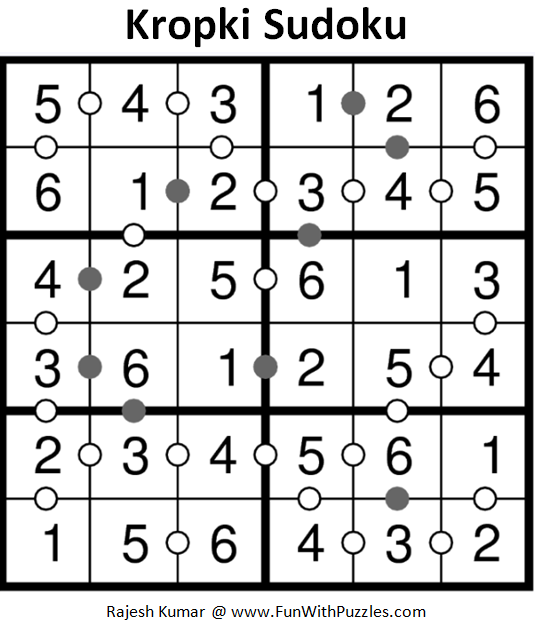 Kropki Sudoku (Sudoku For Kids #71) Solution