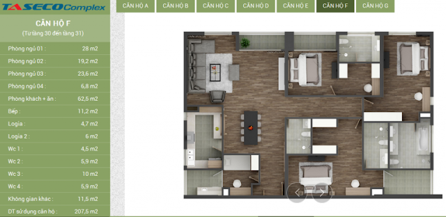 Thiết kế căn hộ F Taseco Complex
