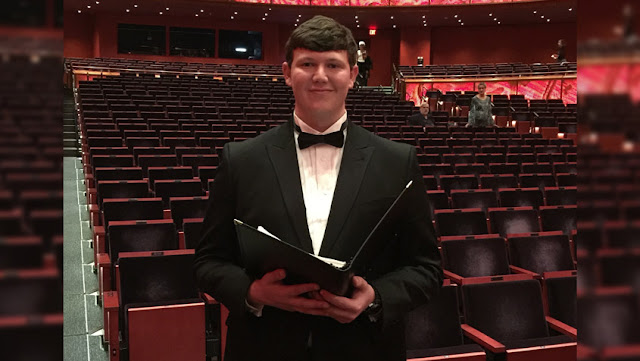 Trinity student David Spindel at the Tobin Center