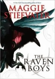 Cover of the Raven Boys, featuring a raven in flight, its claws positioned to catch something. A red glow burns at its core.