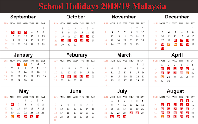 Free Template School Holiday 2019 Malaysia