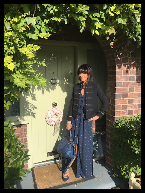 My Midlife Fashion, H and M Maxi Dress, Mango buttoned jacket, military jacket, boden ghillie lace ups