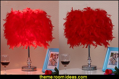 red feather lamp   Moulin Rouge Victorian Boudoir style bedroom decorating ideas - Moulin Rouge style bedroom ideas - boudoir themed decor - Moulin Rouge decor ideas -  French boudoir themed bedrooms - sexy themed bedroom decorating ideas - boudoir furniture - bordello bedrooms - Romantic style bedrooms - French Victorian boudoir - feathery lamps