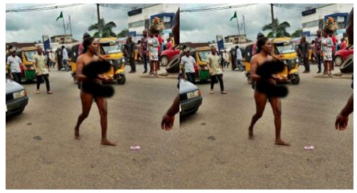 Pr0stitute Runs Mad In Owerri, Str!ps Herself N@k3d (Download Video+Photo)