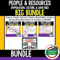 World Geography People and Resources Bundle, Anchor Charts, Games, Guided Notes, Digital Choice Boards, Google Classroom, Word Walls