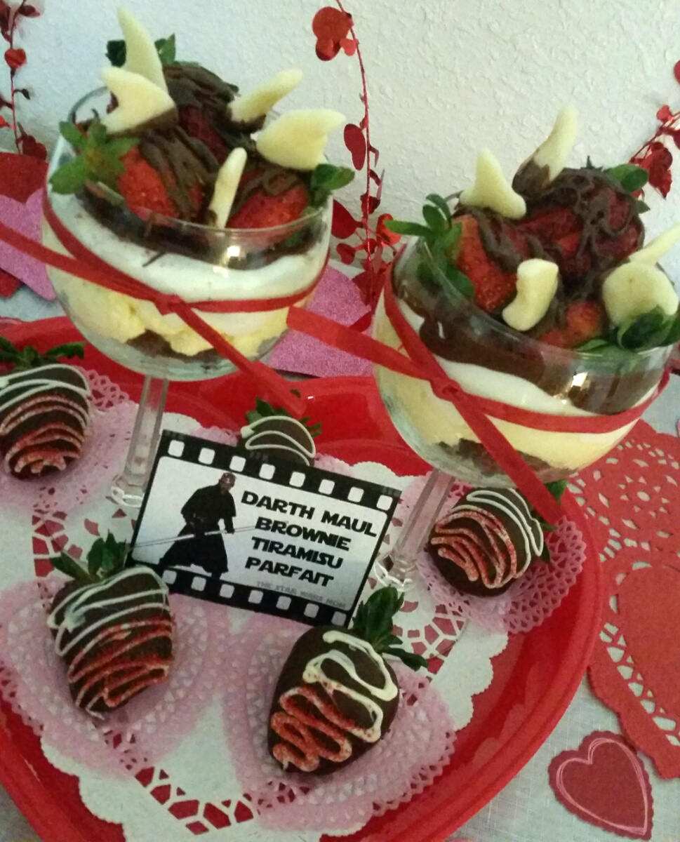 Darth Maul Brownie Tiramisu Parfait Star Wars Party Food Label And
