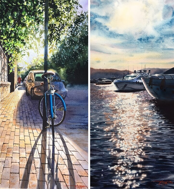 06-Bike-and-Water-reflection-Glare-Igor-Dubovoy-A-Love-for-Travelling-and-Realistic-Watercolour-Paintings-www-designstack-co